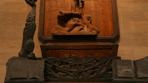 Religious Sculpture Detail in St Vitus Cathedral in Prague, Czech Republic (Czec Footage