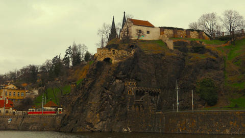 Close-up View of the East Bank of the Vltava River Leading to Vysehrad Castle in Footage