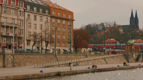 Motion View Of The East Bank Of The Vltava River Leading To Vysehrad Castle In P stock footage
