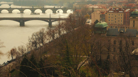 Ultra Slow Pan of the Vltava River and Bridges in Prague, Czech Republic (Czechi Footage