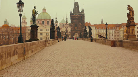 Slow Walk Across the Charles Bridge in Prague, Czech Republic (Czechia) Footage