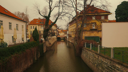 Flowing Canal in the Old Town of Prague, Czech Republic (Czechia) Footage