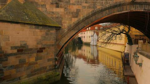 Water Stream Flowing Under Charles Bridge in Prague, Czech Republic (Czechia) Footage