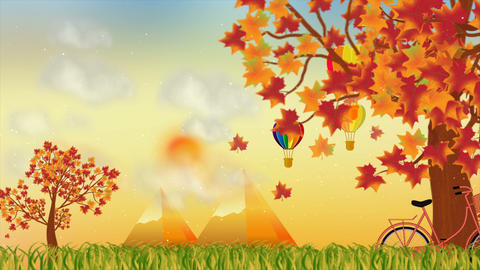 Autumn season with nature and balloon motion background Animation