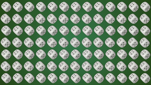 Dice cubes casino gambling green background Animation