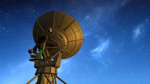 Radio telescope observes starry sky Animation