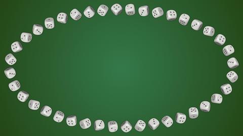 Dice cubes casino gambling green ellipse border frame background GIF