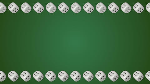 Dice cubes casino gambling green border frame background Animation