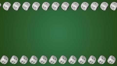 Dice cubes casino gambling green border frame background, Stock Animation