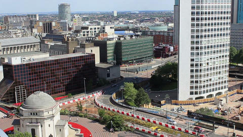 Birmingham cityscape overlooking Paradise Circus Queensway Footage