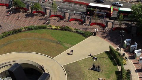 Public square on a sunny day. View from above - Centenary Square and the bus Footage