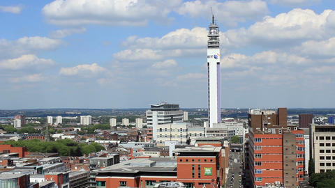 Cityscape and BT Tower aerial view in England ビデオ