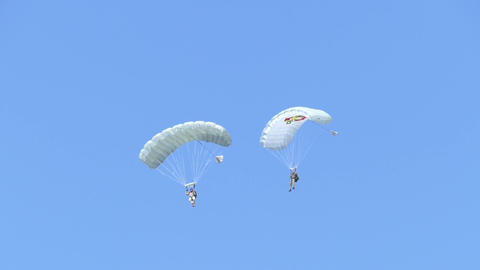 skydiver with a white parachute Live Action