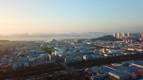 Aerial view Sunset of the industrial park.incheon Seoul,Korea Archivo