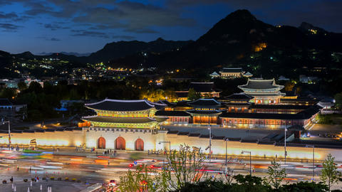 Gyeongbokgung Palace in Seoul City , South Korea Live Action