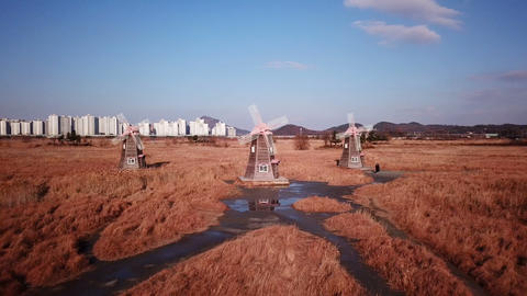 wooden windmill at Incheon Sohrae Ecological Park, South Korea Archivo