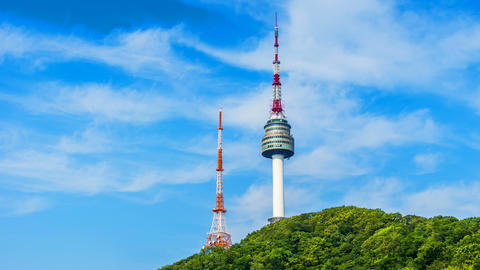 Time lapse of Seoul Tower in Seoul City Skyline,South Korea Live Action