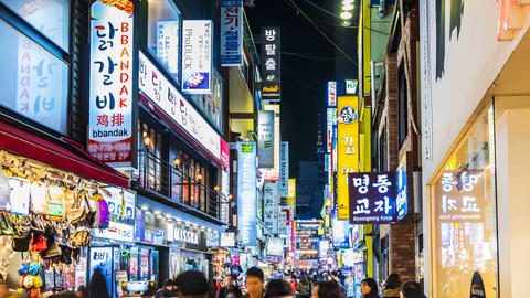 Myeong-dong Market.People walking on a shopping street in,Seoul,korea Footage