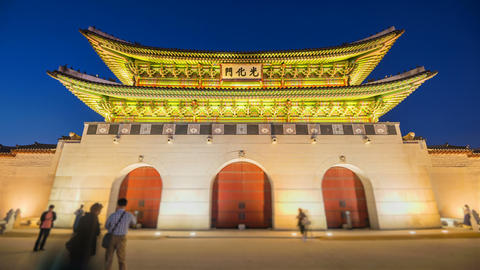 Time lapse of Gyeongbokgung palace and traffic speeds of car light in Live Action