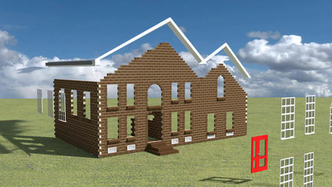 Brick House Build Concept Stock Video Footage