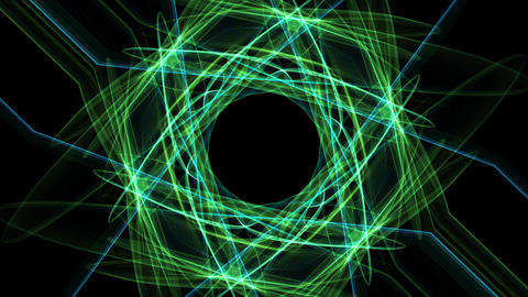 Abstract green fractal animation in hexagonal composition, Nice symmetric Animation