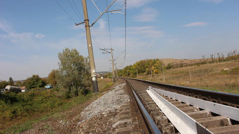 Beatiful view of railway and highway. Hill on the horizon 영상물