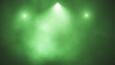 Green Stage Lights and Smoke VJ Loop Motion Background Animation