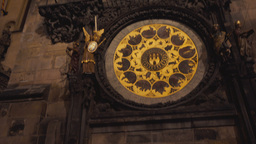 Tilting Shot of the Astronomical Clock at Night in Prague, Czech Republic (Czech Footage