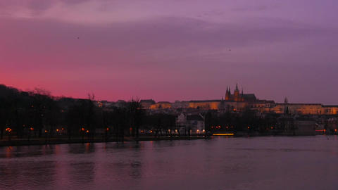 Medium Static Shot of the Vltava River and Castle at Dusk in Prague, Czech Repub Footage