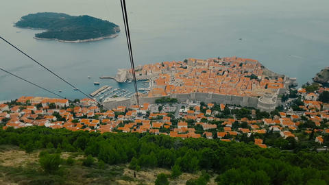 The view from the cable car cabins. Summer in Dubrovnik Footage
