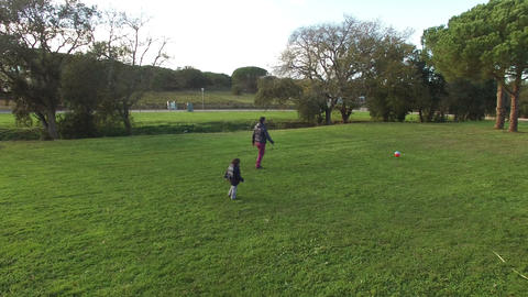 Father and Son Playing Chasing a Ball Aerial View Footage