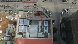 Truck Crane Arm Aerial Drone View Footage