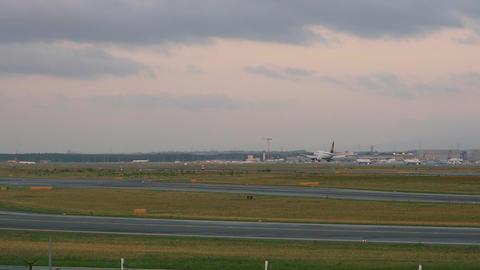 Airplane landing in Frankfurt Footage