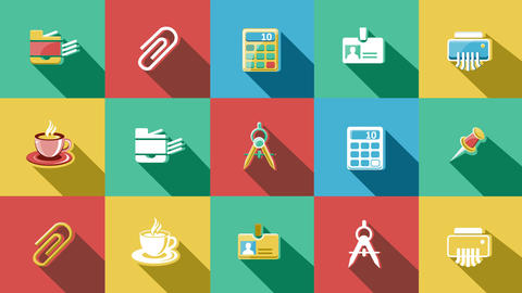 Business And Startup Flat Icons Set. 4K. 0