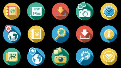 Web and Internet Icons. 4K Animation
