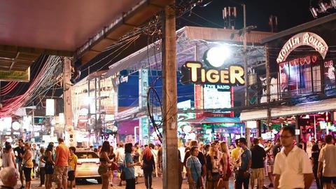 side angle night life of Patong Bangla road Footage
