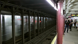New York City 694 thoroughfare of train in Metro station Footage