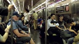 New York City 695 journey in Metro Train of Manhattan underground Footage