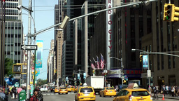 New York City 696 yellow cabs on 5th Avenue & Radio City Music Hall Footage