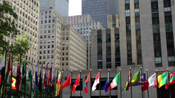New York City 699 different national flags on Rockefeller Plaza Footage