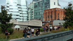 New York City 659 IAC Building behind High Line walkway Footage