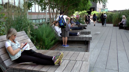 New York City 672 relaxation zone on the High Line Footage