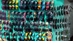 New York City 682 masses of cheap sunglasses seen from above Footage