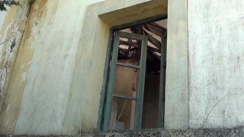 Close Old Wood Windows stock footage