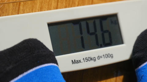 Man Weighing Himself With Bathroom Scales Footage
