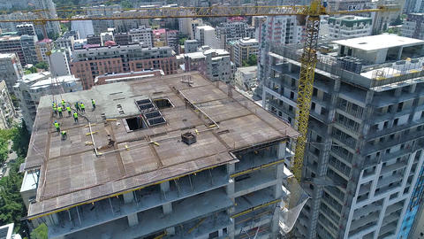 Building Construction Workers Stock Video Footage