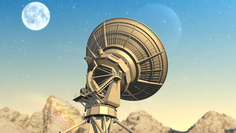 Radio telescope explores evening sky Animation