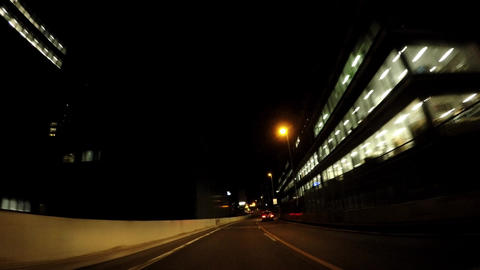 Japanese city scape. Traveling picture of highway in Tokyo at night ビデオ