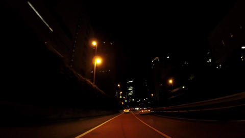 Japanese cityscape. Night building seen from Tokyo's capital highway ビデオ