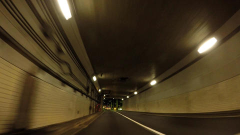 Road in Japan. Night capital highway. Travel image of tunnel exit ライブ動画